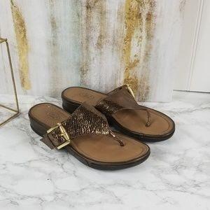 Circa Joan and David Leather Sandal Brown Metallic